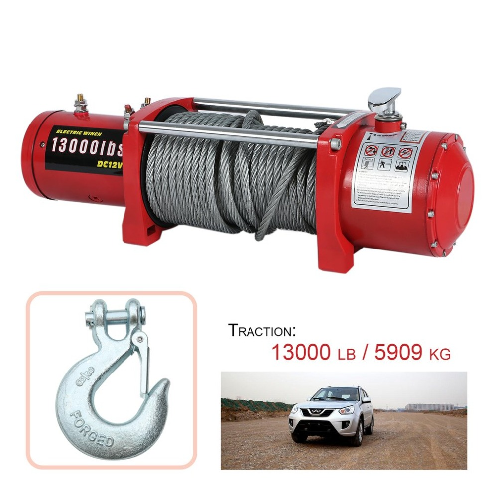 4.5 KW 12V Electric Winch 13000 lb High Performance Cars Engines Lift Winch Remote Control Auto Lifting Sling Crane Equipment murphy m sling enr1x14 endless round sling purple x 14 synthetic rigging crane lifting belt