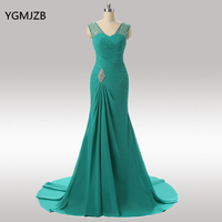Elegant Long Mother Of The Bride Dresses 2019 Mermaid V Neck Cap Sleeve Beaded Crystal Green Evening Party Dress For Weddings