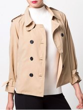 font b Women b font Khaki Double Breasted Duster font b Jacket b font Casual