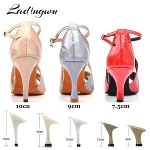 Image 3 - Ladingwu Yeni Marka Dans Ayakkabıları Kadın Latin Benzersiz Yılan doku PU Salsa Dans Ayakkabıları 10 cm Topuklu Tango Profesyonel yapmak ayakkabı