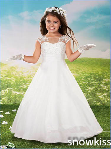 Elegant princess white/ivory long sheer lace beading crew neck cap sleeve flower girl dresses beautiful A-line birthday gowns недорго, оригинальная цена