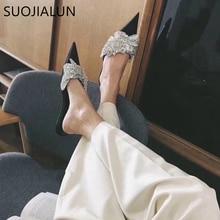 SUOJIALUN 2019 New Brand Summer Slippers Women Luxury Design Bling Crysatal Pointed Toe Flat Mules Ladies Elegant Sandal