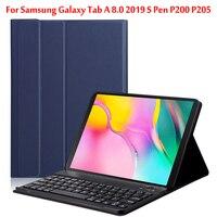 Caso tablet teclado Bluetooth Para Samsung Galaxy Tab 8.0 2019 S Caneta P200 P205 SM P200 SM P205 tablet teclado sem fio cobrir Estojo p/ tablets e e-books     -