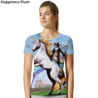 Unicorn Shirt Cat T Shirt Women Short Sleeves Brand Clothing Gun Rainbow Horse 3d Print Tshirt