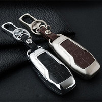 Stainless Steel & Leather Car key ring for Mustang Auto key shell cover for Ford Taurus Explorer Mustang key with gift box