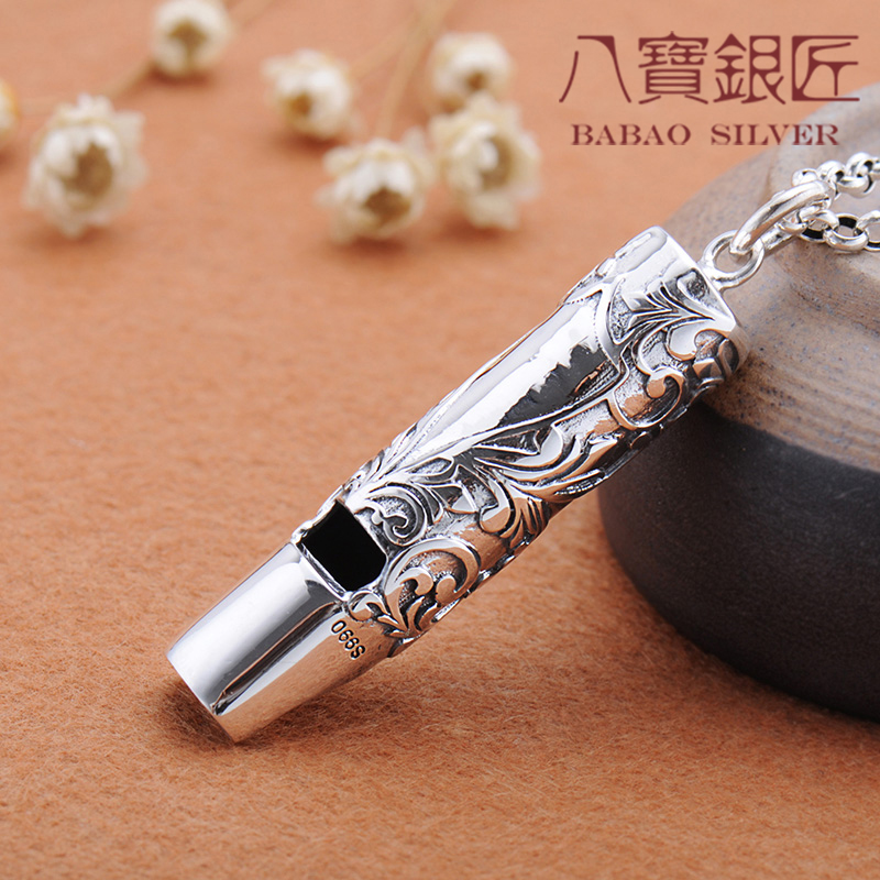 Silver whistle silversmith retro pattern can be sounded in Japan and South Korea men and women sweater chain necklace europe america japan south korea thai silver personality wild and simple men s and women s bracelet wholesale