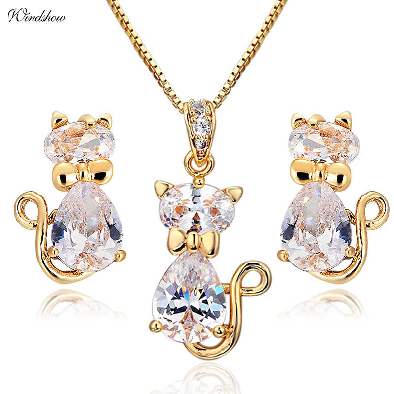 Cute Cat Stud Earrings Necklaces & Pendants Pave CZ Gold Color Jewelry Sets For Women Children Kids Girls Gatos Jewellery Gifts