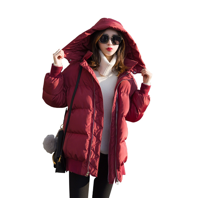 BF Style Loose Oversized Wine Red Hooded Short Winter Jacket Women Cotton Padded Parka Women Coat Jaqueta Feminina TT3441 hooded winter jacket women thick cotton padded parka down warm casaco feminino jaqueta feminina abrigos mujer invierno sy235