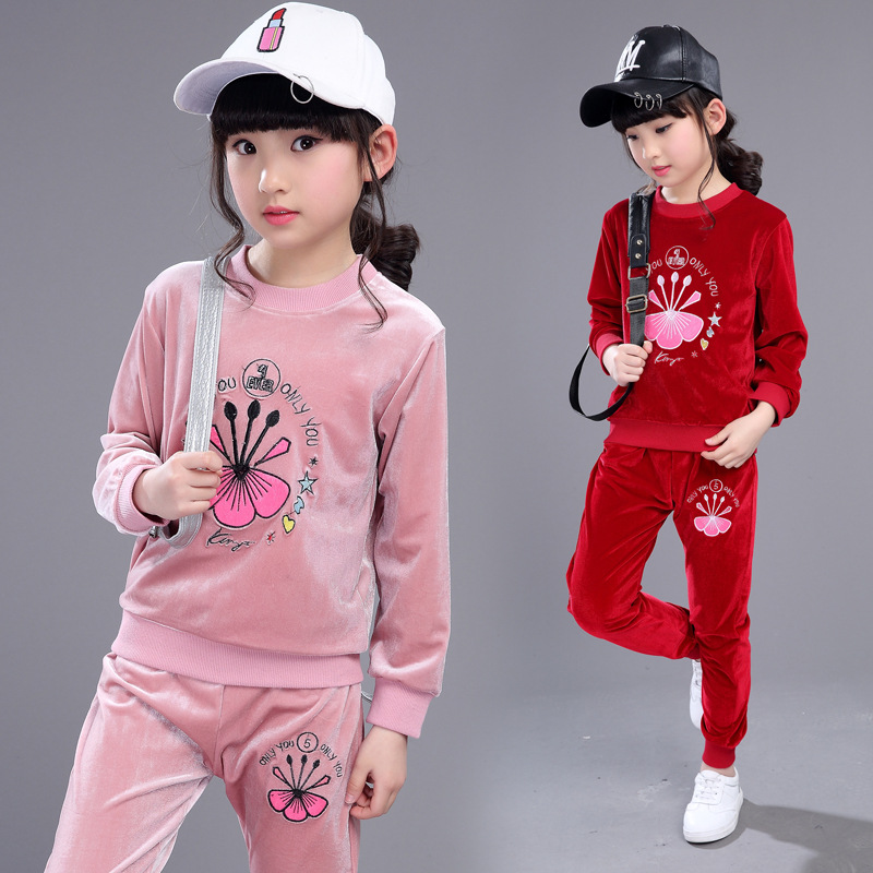 ФОТО Kids girls spring / autumn 2 pcs set 2017 new baby girls' clothing fashion embroidery round neck suit 4/5/6/7/8/9/10/11/12/13