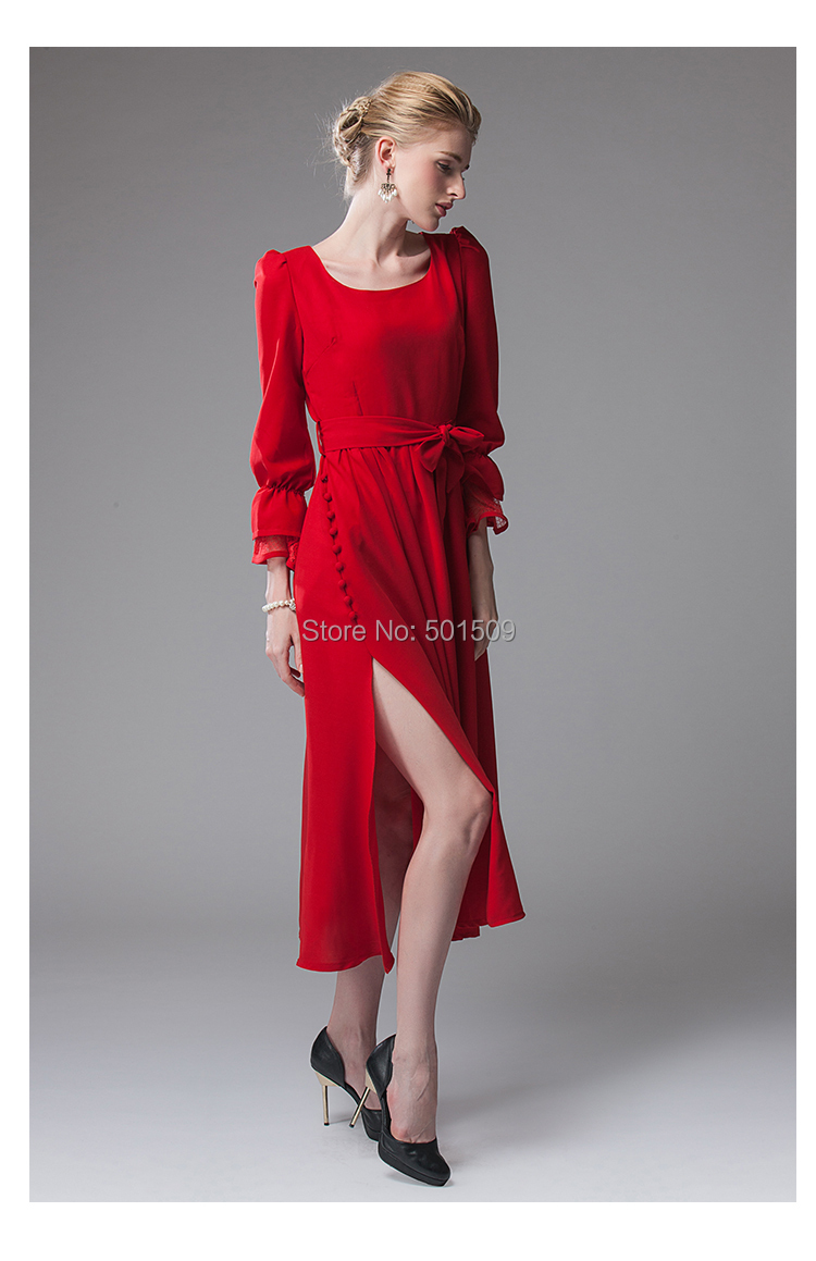 Free shipping red chiffon flare lace full sleeve vitoria dress long medieval Renaissance Victorian Gothic Lo/Marie Antoinette