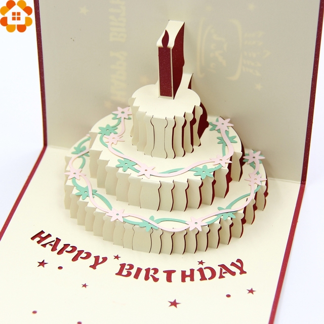 1pc happy birthday cards 3d birthday cake laser cut folding greeting 1pc happy birthday cards 3d birthday cake laser cut folding greeting invitation card kids toys filmwisefo