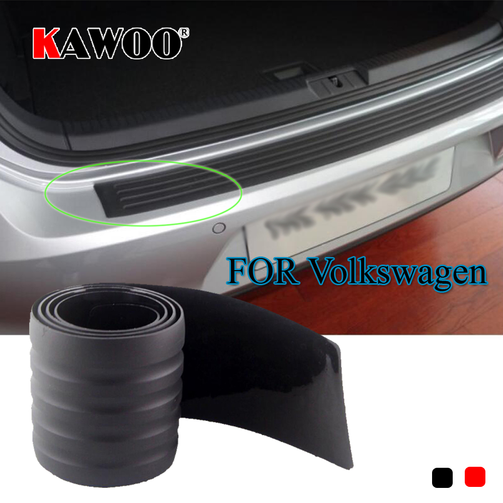 KAWOO For VW Passat B6 B7 Golf MK4 MK5 MK6 Tiguan Beetle Sharan Rubber Rear Guard Bumper Protect Trim Cover Sill Pad Car Styling