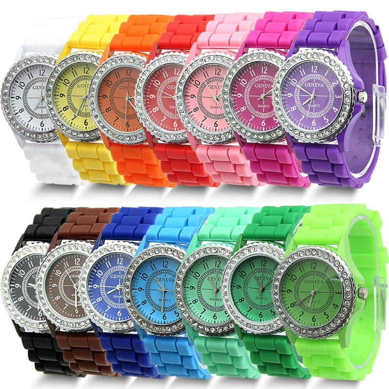 1 PC 14 Colors Fashion Silicone GENEVA Watch Hot Selling Women Dress Watch Women Rhinestone Watches