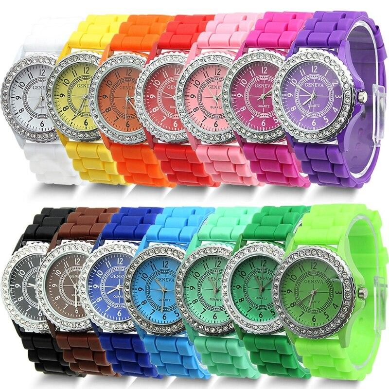 1 PC 14 Colors Fashion Silicone GENEVA Watch Hot Selling Women Dress Watch Women Rhinestone Watches
