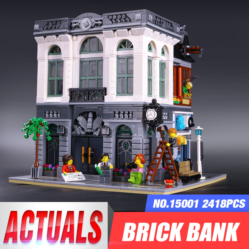 LEPIN 15001 2413Pcs Brick Bank Model Building Kits Blocks Bricks Toy Compatible With legoing 10251 DIY Funny Educational Gift lepin movie pirate ship metal beard s sea cow model building blocks kits bricks figures toys compatible legoing