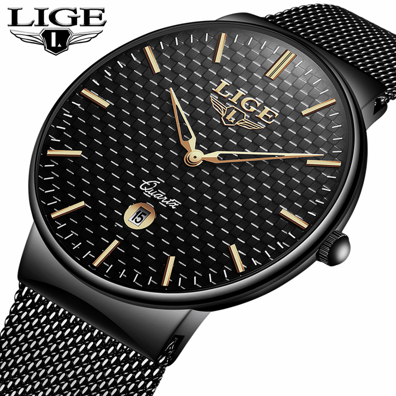 LIGE Top Brand Luxury Men's Fashion Quartz Watch Men Ultra Thin Steel Mesh Strap Clock Waterproof Sport Watch Relogio Masculino fashion watch top brand oktime luxury watches men stainless steel strap quartz watch ultra thin dial clock man relogio masculino