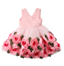 Flower Girls Dress Infant Girls 3D Rose Princess Party Dress Kids Baby Cute Sleeveless Pageant Outfits Costume