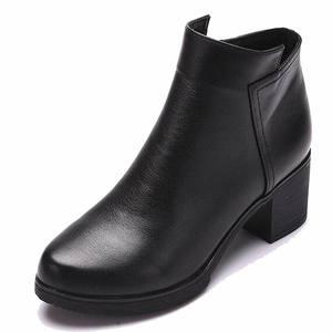 Image 4 - 2020 Mới Giày Bốt Nữ Mùa Thu Giày Cao Gót Nữ Mắt Cá Chân Size 35 40 Mùa Đông Giày Bốt Thời Trang Công Sở Da Thật Chính Hãng Da giày