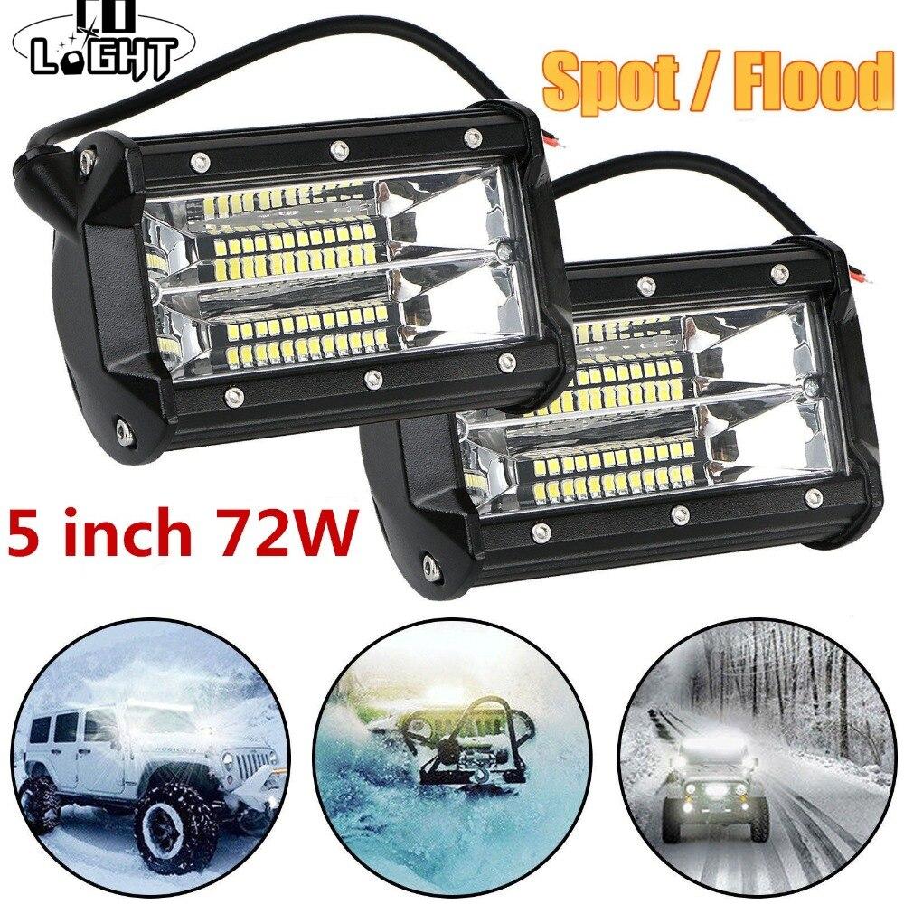 CO LIGHT Offroad 72W 5Inch LED Work Light Bar Spot Flood 12V 24V Led Light Bar For ATV Lada 4x4 Truck UAZ Auto Led Driving Light