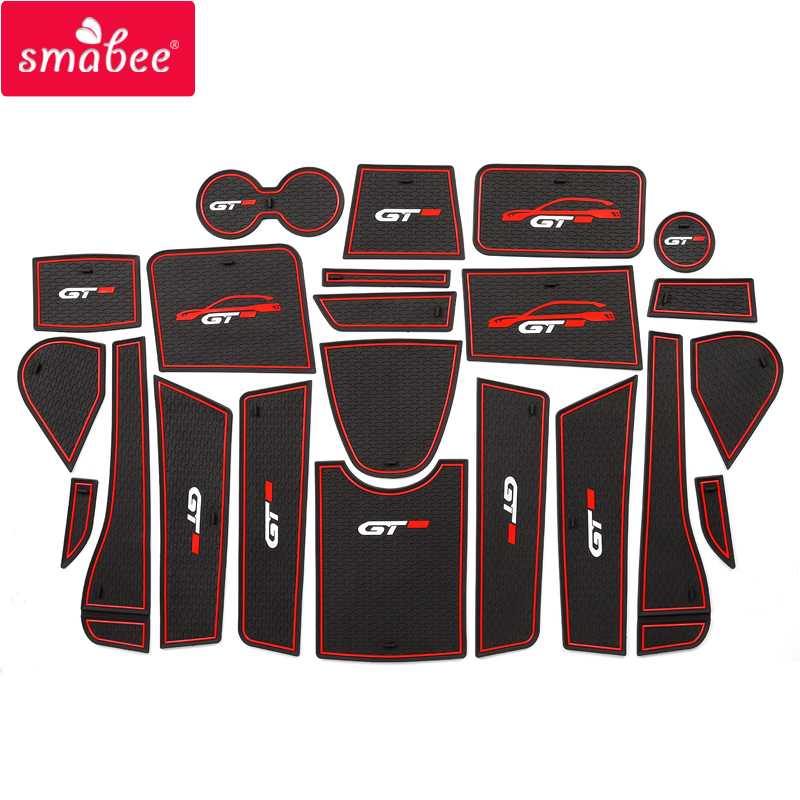 Smabee Gate Slot Mat For Peugeot 5008 MK2 2017 2018 2019 Cup Holders Anti-Slip Mats Accessories 3008 5008 II 2 SUV 2nd Gen