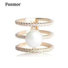 Funmor cobre circón No broches para damas de oro de color elegante simulado perla flexión círculo bufanda de seda hebilla Joyeria