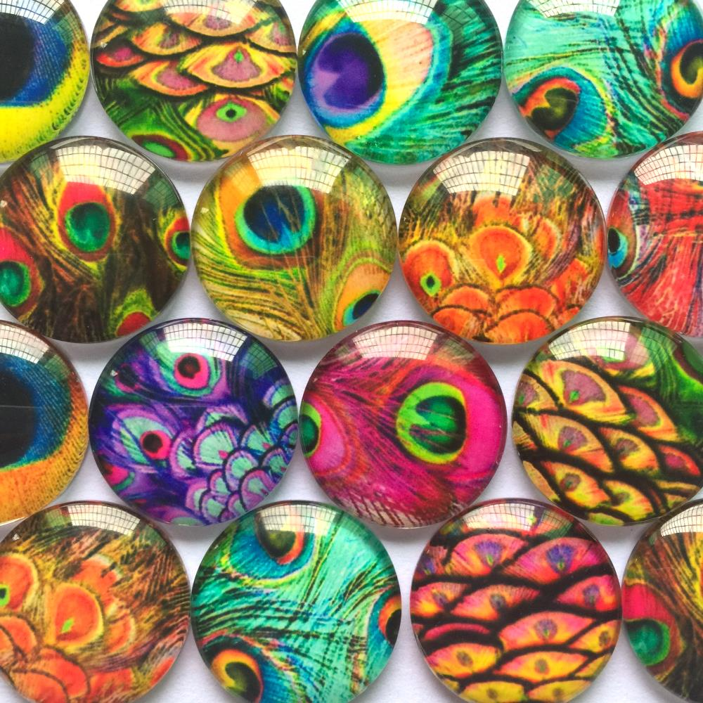 20 PEACOCK FEATHER CABOCHONS-12MM-GLASS//FLATBACK//JEWELLERY//CHARM-CABOCHON-PRETTY