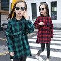 Niños camisa de tela escocesa para blusa de la muchacha adolescente de la cintura delgada de ropa de moda infantil camisa de manga larga tops uniformes escolares clothing 4-14