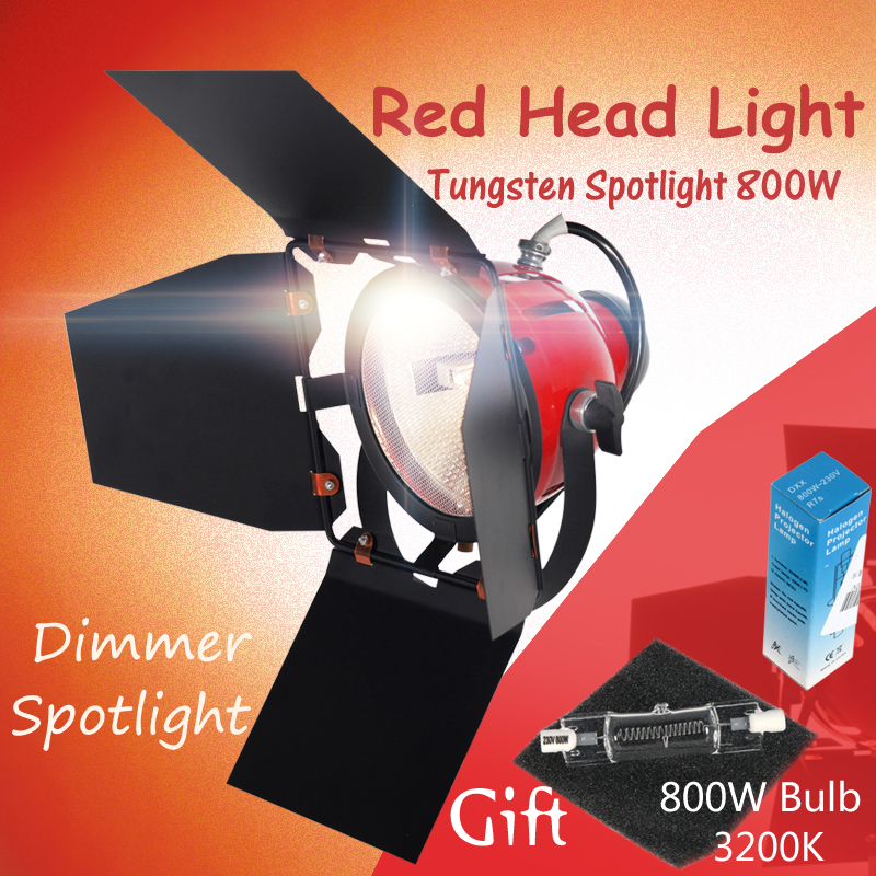 ASHANKS 800W Studio Spotlight Tungsten Spot Light for Camera Video Red head Light with Dimmer Continuous Lighting + Halogen Bulb ashanks small photography studio kit