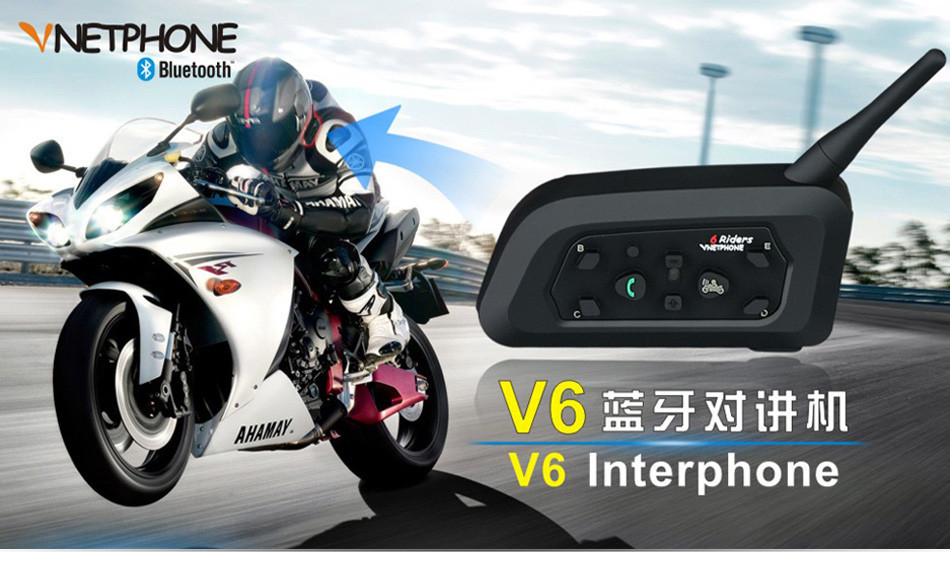 3PCS BT Intercom Motorycle Helmet Headset Bluetooth Interphone V6 1200M 6 Riders Bikers Skiers Walkie Talkie Moto Communication -01