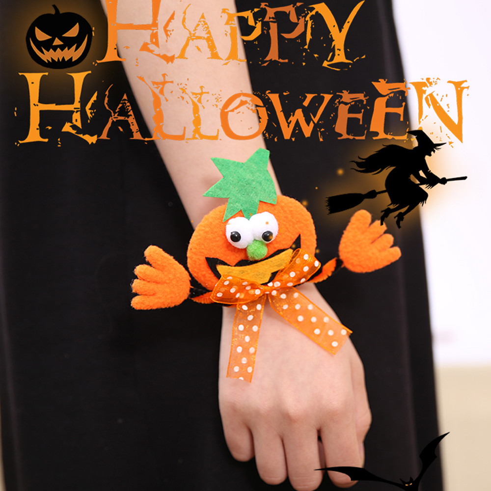 Halloween Glow Slap Bracelet Party Decor Pat Circle Hand Ring Pumpkin Bat Festival Decoration Bracelet  LED lamp beads SA65