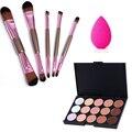 15 Color Concealer + 5pcs Double Ended Makeup Brushes Set + Beauty Sponge Puff Facial Contour Palette Make Up Kits