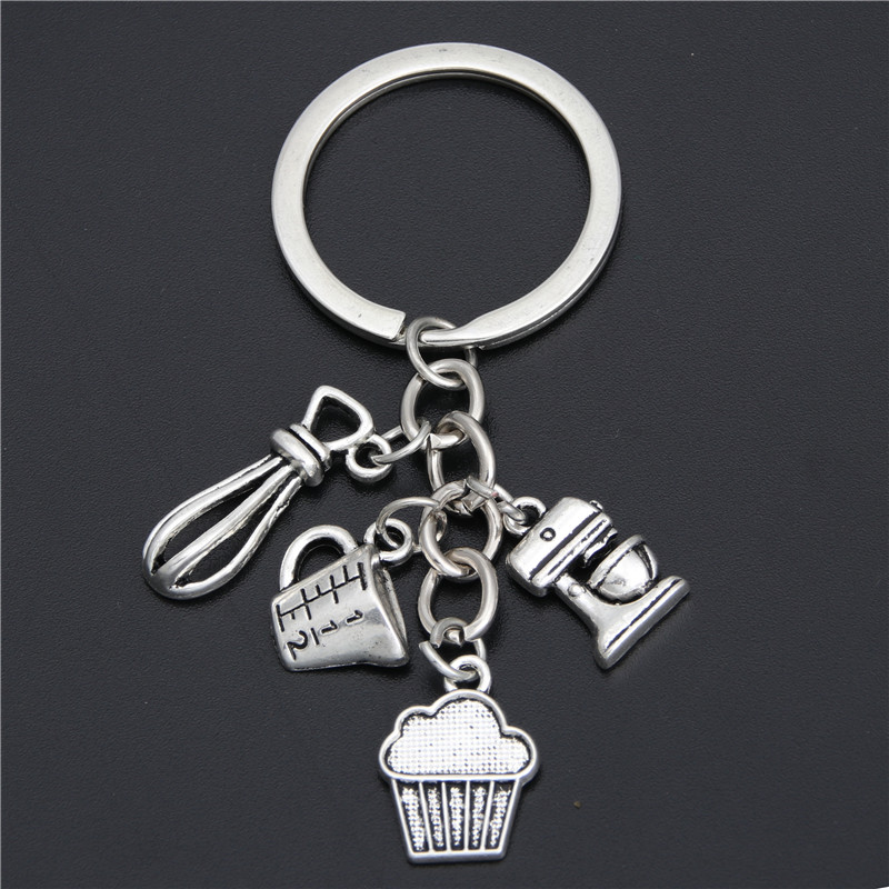 1pc Gift For Cooks Chefs Baker Keychain Measuring Spoons Key Ring Key Accessories Kitchen Key Chains Baking Jewelry E1902