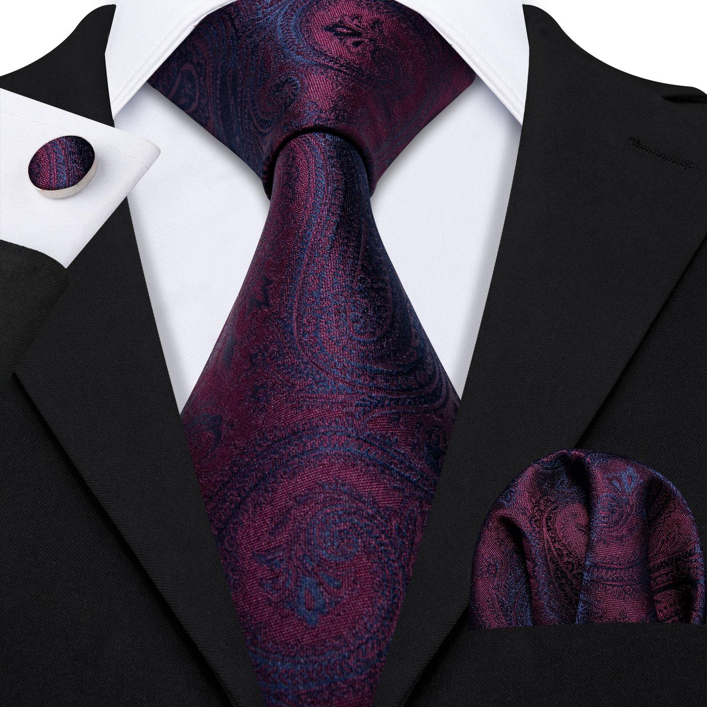 Barry.Wang Classic Designers Purple Paisley Mens Ties 8.5cm Silk Tie Hanky Box Set Gifts For Men Wedding Groom Neckties LS-5160