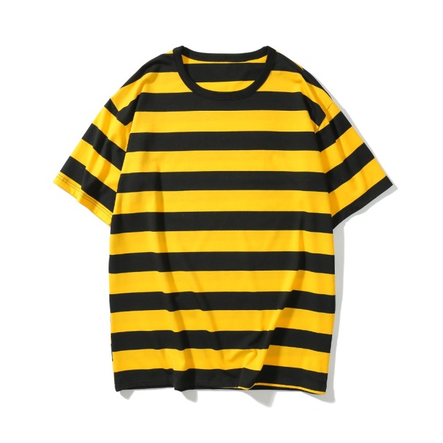 7c53b776 2018 NEW TOP KANYE WEST OVERSIZE Black white red yellow Stripes men Short  sleeve t shirt hip hop Fashion casual Cotton Tee M-XL