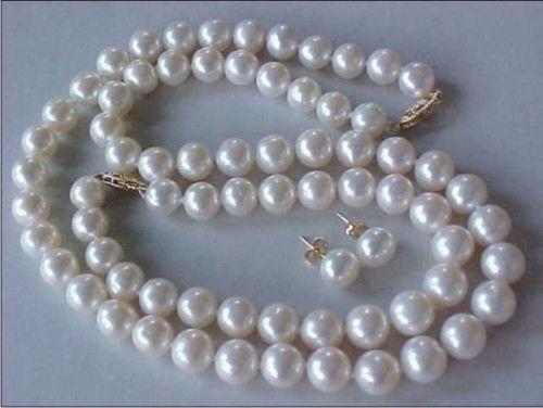 Здесь продается  SET OF 9-10MM AAA GENUINE WHITE PEARL NECKLACE, BRACELET & EARRINGS 14K/20 Gold  Ювелирные изделия и часы