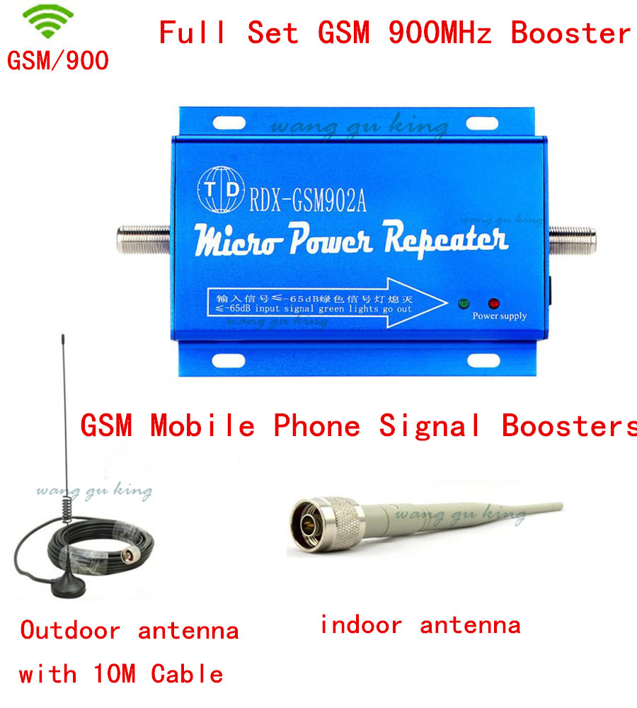 Full Set LCD Family GSM 2G 900MHz 900 Mini Cell Phone Signal Booster Repeater For 200M2 With 10M Cable+Indoor&Outdoor Antenna