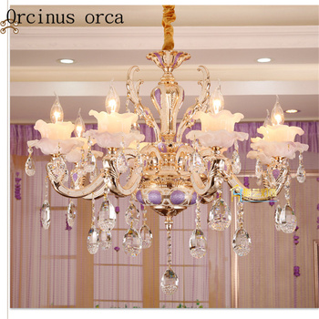 European luxury zinc alloy chandelier duplex hall living room bedroom French candle jade crystal lamp free shipping