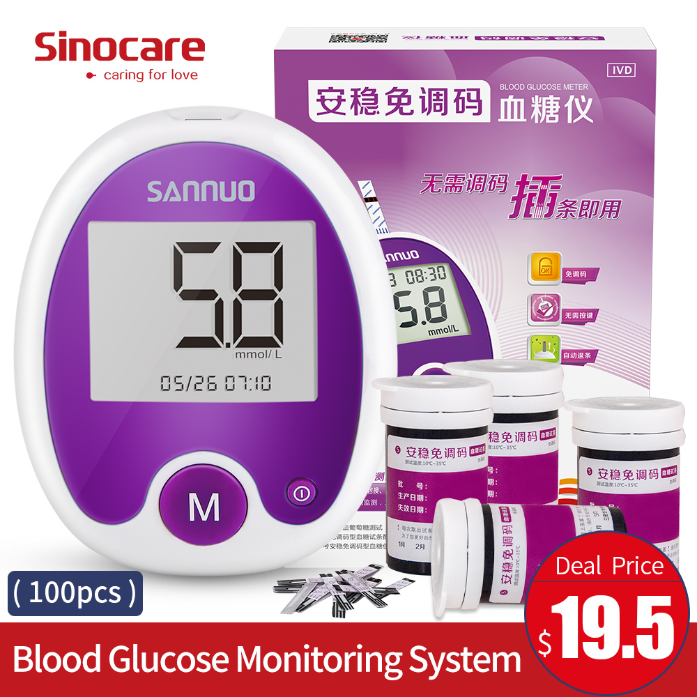 Sinocare Anwen Code Free Blood Sugar Meter with 100 Test Strips Bottled 100 Needles Blood Glucose Tester Glucometer for Diabetes