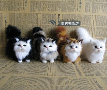 4 pieces a lot cute simulation cat lifelike cat models gift 12x6x12cm