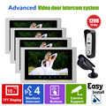 Homefong HD 10 Inch Color LCD Night Vision Video  Door Phone Intercom System with 1 Doorbell Camera 1 CCTV Camera 4 Monitor