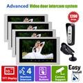 Homefong HD 10 Inch Color LCD Night Vision Video  Door Phone Intercom System with 1 Doorbell Camera 1 CCTV Camera 4 Monitor
