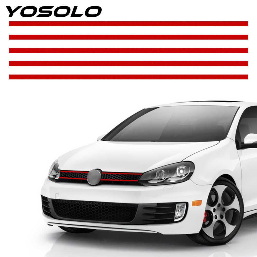 YOSOLO רכב רצועת מדבקת הוד חזית גריל מדבקות רכב סטיילינג רעיוני מדבקות עבור פולקסווגן גולף 6 7 Tiguan אוטומטי קישוט