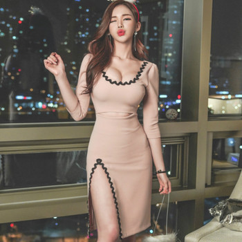 a5326443f2f40 2019 Spring Hollow Out 3/4 Sleeve Solid Knee-Length Bodycon Sexy ...