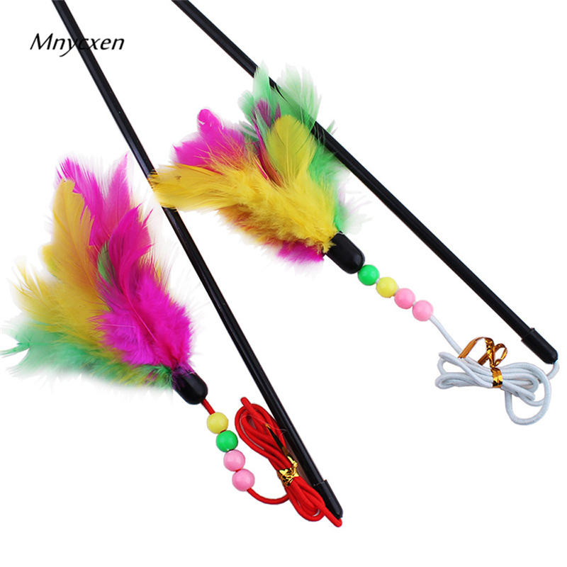 Great Kitten Play Interactive Fun Toy Cat Teaser Wand Pet Colorful Feather Grappige Kattenstok Toys For Cats For A Cat Toy @C