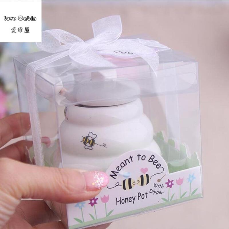 Предназначенный для пчелы керамический горшок для меда 10 шт./лот  свадебный душ для подаркаgift favorgift giftsgift pot