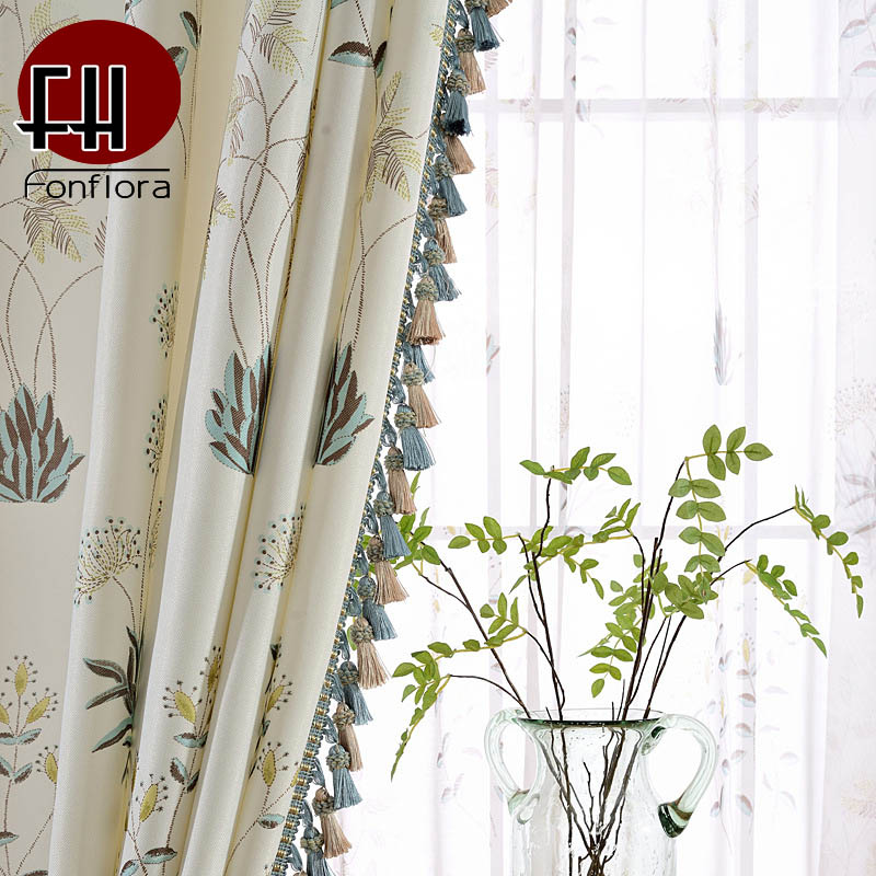 Pastoral Country Style Curtains For Living Room Floral Printed Fabric Bedroom Curtains With Tassel Pendant Pure And Fresh Drapes