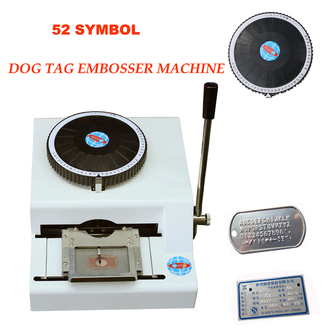 52 Characters Manual GI Military Stainless Steel Metal Dog Tags Embosser Letter Aluminium PVC Embossing Stamping Machine