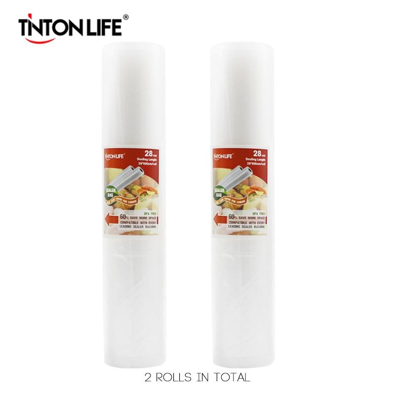 TINTON VIE 28 cm * 500 cm 2 Rouleaux/set Vide Scellant De Stockage Sacs Grade pour Sous Vide et foodsaver
