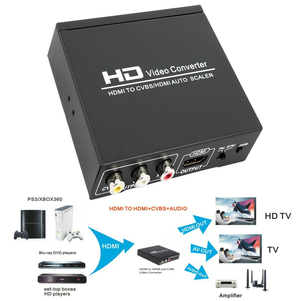 High Quality HDMI TO CVBS AV/HDMI AUTO SCALER Support NTSC PAL Two TV Format, HD Video Converter for TV,VHS, VCR,DVD Recorders composite av cvbs 3rca to hdmi video converter adapter full hd 720p 1080p for hdtv vcr dvd vhs ps3 xbox white new