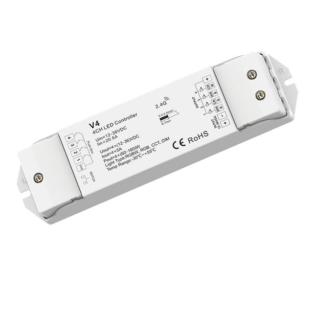 Contrôleur de variateur de bande Led 4 canaux RF télécommande sans fil RS6 DC12-36V 4 * 5A 20A récepteur de sortie chaque canal gradation séparément
